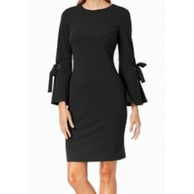 bell ベル ファッション ドレス Calvin Klein Womens Black Size 10 Tie Bell Sleeve Sheath Dress