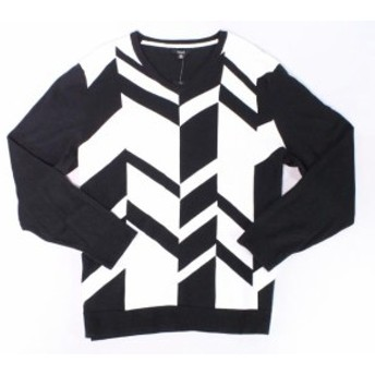 Alfani  ファッション トップス Alfani NEW Black White Mens Size 3XL Broken Chevron V-Neck Sweater