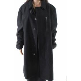 ファッション 衣類 WRK NEW Deep Black Womens Size 2XL Plus Longline Coat Wool Blend
