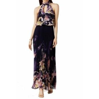 ファッション ドレス Xscape NEW Blue Womens Size 4 Pleated Halter Keyhole Floral Gown Dress