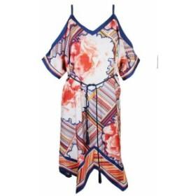 Rachel Roy レイチェルロイ ファッション ドレス Rachel Rachel Roy Blue Peach Printed Cold-Shoulder Shift Dress XS