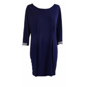 ファッション ドレス Msk Blue Rhinestone Split-Sleeve Cocktail Dress 6