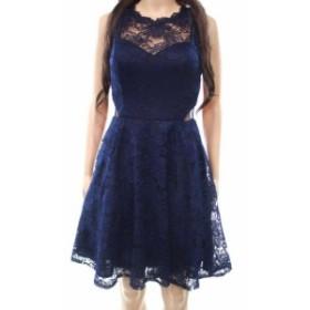 ファッション ドレス Xscape NEW Blue Womens Size 10 Lace Illusion Tulle A-Line Dress