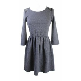 Maison  ファッション ドレス Maison Jules New Grey Long-Sleeve Quilted Lace-Panel Dress S