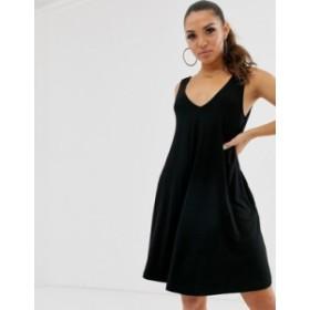 エイソス レディース ワンピース トップス ASOS DESIGN ultimate swing dress with concealed pockets Black