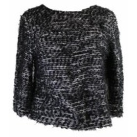 Vince ヴィンス ファッション トップス Vince Camuto Black Elbow-Sleeve Textured Sweater