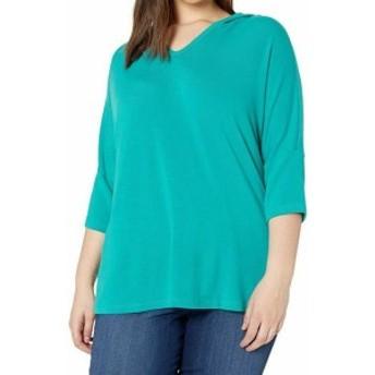 Karen Kane カレンケーン ファッション トップス Karen Kane Womens Sweater Blue Size 1X Plus 3/4 Sleeve V-Neck Hooded