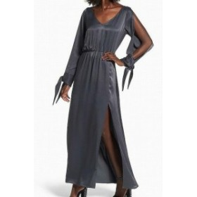 Leith ライス ファッション ドレス Leith NEW Gray Womens Size XS Split Sleeve Front Slit Maxi Dress