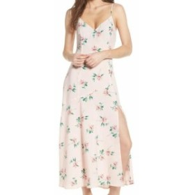 Lush ラッシュ ファッション ドレス LUSH NEW Pink Womens Size Medium M Floral Print Slit V-Neck Maxi Dress