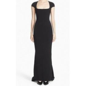 Stella McCartney ステラマッカートニー ファッション ドレス Stella McCartney NEW Black Cap-Sleeve Square-Neck 42 Train Gown Dress
