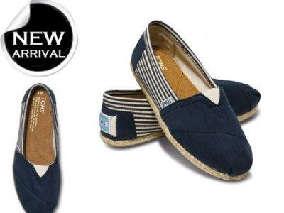 TOMS University Navy Rope Sole 深藍色條紋 懶人鞋 帆布鞋 包鞋