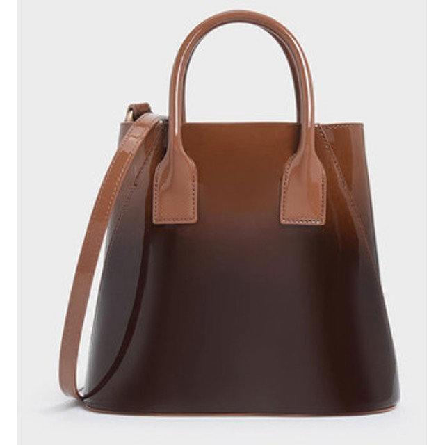 CHARLES&KEITH チャールズ&キース Boxed Leather Bucket Bag