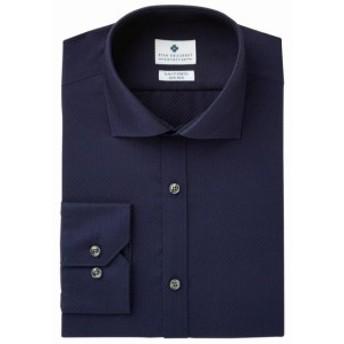 Ryan  ファッション ドレス RYAN SEACREST NEW Blue Mens 15 Slim Fit Stretch Texture Dress Shirt