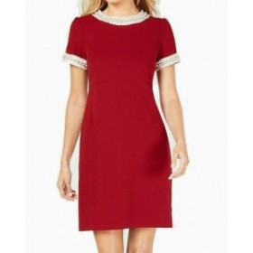 Betsey Johnson ベッツィージョンソン ファッション ドレス Betsey Johnson Womens Shift Dress Red Size 12 Seamed Embellished