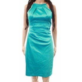Eliza J エリザジェイ ファッション ドレス Eliza J NEW Blue Womens Size 6 Satin Halter Chain Sheath Dress