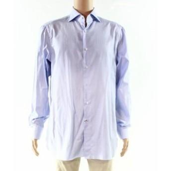 ファッション ドレス Isaia NEW Blue Mens Size 43 Long Sleeve Mix Mini Check Dress Shirt