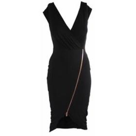 Rachel Roy レイチェルロイ ファッション ドレス Rachel Rachel Roy Black Sleeveless delivers-Zip Jersey Dress