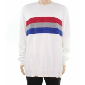 Red  ファッション トップス Club Room Mens Sweater White Ivory Red Size 3XL Ribbed Crewneck