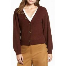 ファッション トップス Chriselle Lim Womens Sweater Brown Size Large L Button Up Cardigan