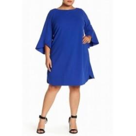 bell ベル ファッション ドレス Vince Camuto NEW Royal Blue Women Size 14W Plus Bell Sleeve Shift Dress