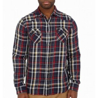 Mavi  ファッション アウター Mavi Mens Shirt Blue Size 2XL Button-Front Dual-Pocket Plaid-Print