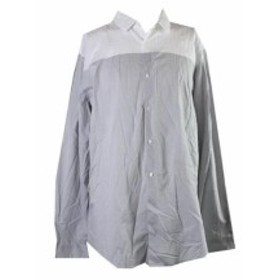 ファッション アウター Inc International Concepts White Grey Colorblocked Shirt XXL