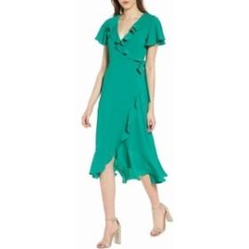 Chelsea28 チェルシートウェンティエイト ファッション ドレス Chelsea28 Womens Ruffled Chiffon Green Size XS Midi Wrap Dress