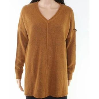 ファッション トップス Dreamers Womens Brown Size Large L Tunic High Low V-Neck Sweater