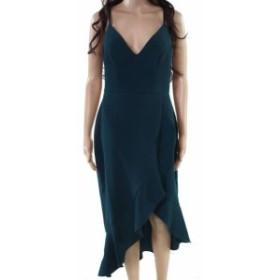 Ruffle  ファッション ドレス Xscape Womens Green Size 12 V-Neck Ruffle Hem Hi-Lo Sheath Dress