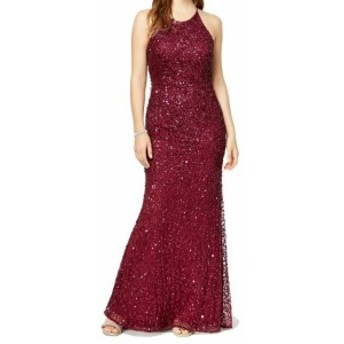 Adrianna Papell アドリアーナ パペル ファッション ドレス Adrianna Papell Womens Red Size 14 Sequin-Embellished Sheath Dress