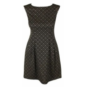 Gold ゴールド ファッション ドレス Jessica Howard Petite Black Gold Metallic Geo-Print Fit & Flare Dres 6P