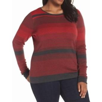 NIC+ZOE ニックゾー ファッション トップス NIC+ZOE Womens Red Size 3X Plus Striped Scoop Neck Crewneck Sweater