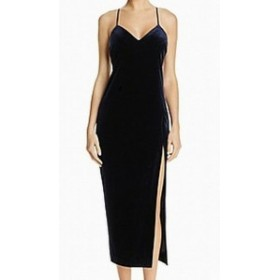 Bardot バルドー ファッション ドレス Bardot NEW Navy Blue Womens Size XS Velvet Side Slit Bodycon Gown