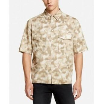 DKNY ダナキャランニューヨーク ファッション アウター DKNY NEW Brown Mens Size XL Camo Print Dual Pocket Button Up Shirt