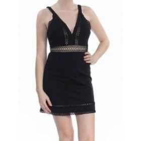 Free People フリーピープル ファッション ドレス Free People NEW Black Womens Size 2 Lace Trim V-Neck Sheath Dress
