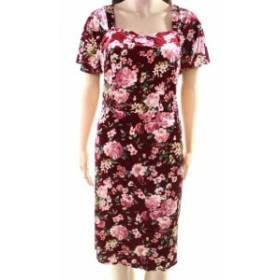 Monteau  ファッション ドレス Monteau NEW Red Womens Size 2XS Plus Floral Print Velvet Sheath Dress