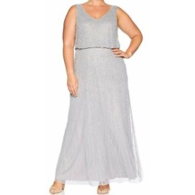 Adrianna Papell アドリアーナ パペル ファッション ドレス Adrianna Papell NEW Silver Womens Size 6 Beaded Sleeveless Blouson Gown