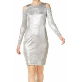 Calvin Klein カルバンクライン ファッション ドレス Calvin Klein NEW Silver Womens Size 12 Cold-Shouldedr Sheath Dress