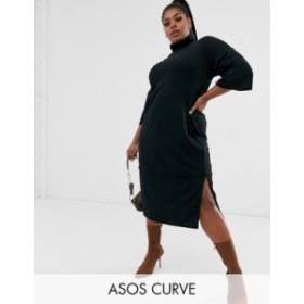 エイソス レディース ワンピース トップス ASOS DESIGN Curve super soft high neck exposed seam midi dress Black
