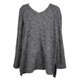 ファッション トップス Style & co gray space-dyed sweater neck v l