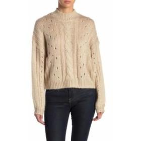 ファッション トップス Abound Womens Beige Large L Long Sleeve Cable-Knit Mock Neck Sweater
