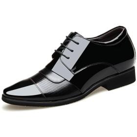 [Jusheng-shoes] メンズシューズ メンズドレスシューズポインテッドトゥパテントレザーエンボススプリットジョイント6cm目に見えない高さ増加滑り止め(スリップオン&レースアップオプション) カジュアルシューズ (Color : Black-Lace up, サイズ : 23.5 CM)