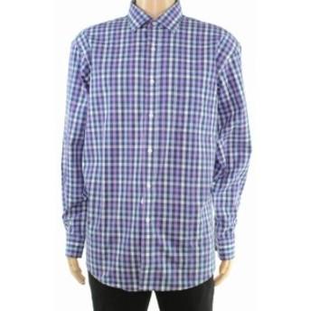 ファッション ドレス Club Room Mens Dress Shirt Blue Purple Size 18 1/2 Gingham Check