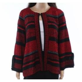 Ming Wang ミンウォン ファッション トップス Ming Wang NEW Deep Red Womens Size Large PL Petite Cardigan Sweater