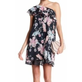 Eliza J エリザジェイ ファッション ドレス Eliza J NEW Blue Womens Size 10 Floral One Shoulder Shift Dress
