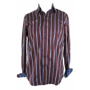 ファッション アウター Tasso Elba New Burgundy Striped Contrast-Cuff Shirt 14-14.5 S