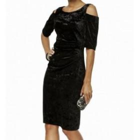 ファッション ドレス Connected Apparel NEW Black Womens 14 Velvet Cold-Shoulder Sheath Dress