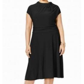 ファッション ドレス Love Squared NEW Black Womens Size 2X Plus Tie-Neck A-Line Dress