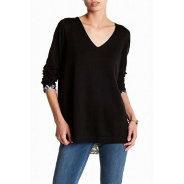 NYDJ  ファッション トップス NYDJ NEW Black Womens Size XL Floral Contrast Back V-Neck Sweater