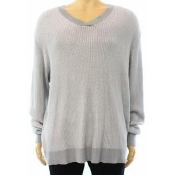 Alfani  ファッション トップス Alfani NEW Steel Gray Mens Size 2XL Ribbed Pullover V-Neck Sweater